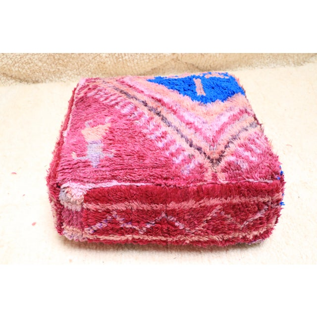 1990s Vintage Moroccan Wool Pouf Cover For Sale - Image 5 of 13