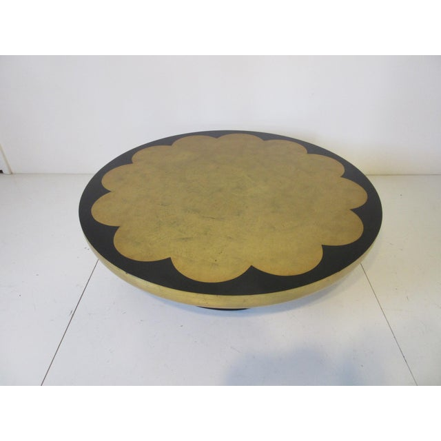 Gold Kittinger Asian Regency Styled Lotus Coffee Table For Sale - Image 8 of 9