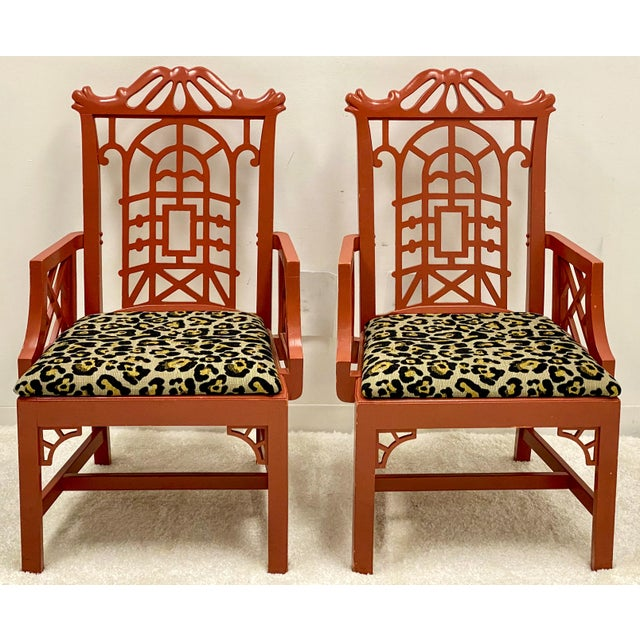 Wood Mid 20th Century Chinoiserie Pagoda Arm Chairs in Leopard - a Pair For Sale - Image 7 of 7