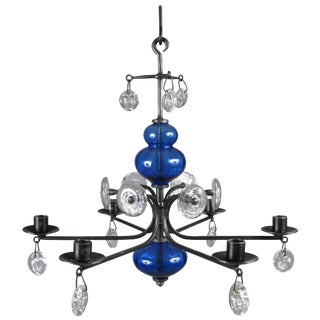Danish Glass and Iron Chandelier by Erik Hoglund for Kosta Boda For Sale