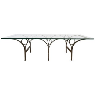 Arturo Pani Gilt Iron and Glass Coffee or Cocktail Table For Sale