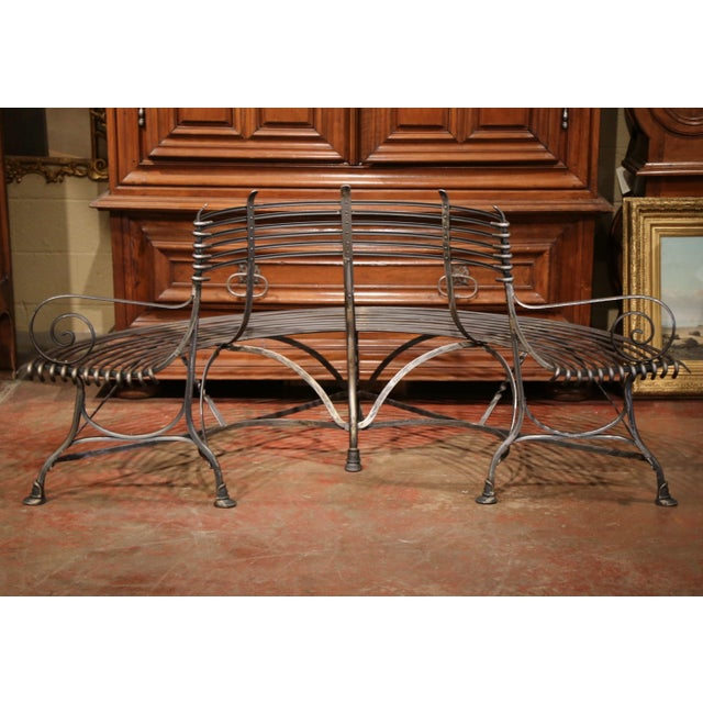 2010s French Polished Iron Curved Around the Tree Shaped Garden Bench Signed Sauveur For Sale - Image 5 of 10