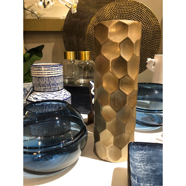 Contemporary Brushed Gold Cylinder Vase - Medium For Sale - Image 3 of 5