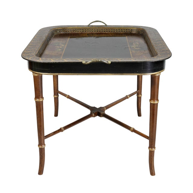 Early 19th Century Regency Papier Mâché Tray Top Coffee Table For Sale - Image 5 of 13