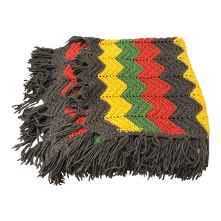 VIntage Hand Crafted Blanket Throw Vibrant Colors For Sale