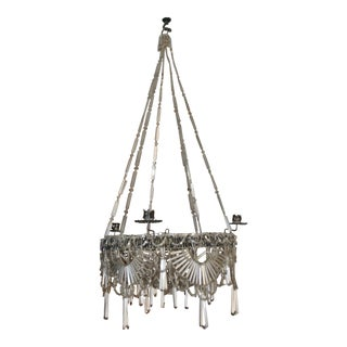 C. 1825 Biedermeir Period Hand Woven Glass Beaded Chandelier