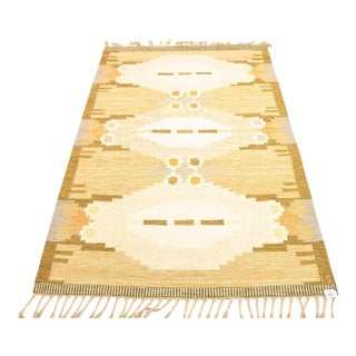 "Vintage Swedish Handwoven Flat Weave Rug by Ingegerd Silow - 6'6"" X 4'6"" For Sale"