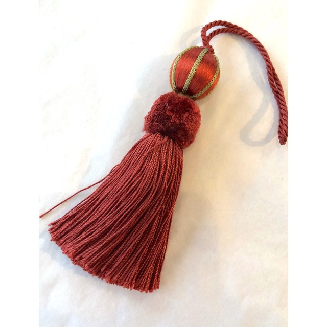 """Traditional Red Beaded Key Tassel - H 4.75"""" For Sale - Image 3 of 9"""