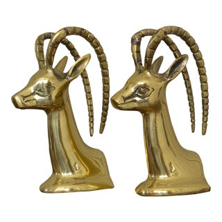 Vintage Brass Antelope Bookends - A Pair