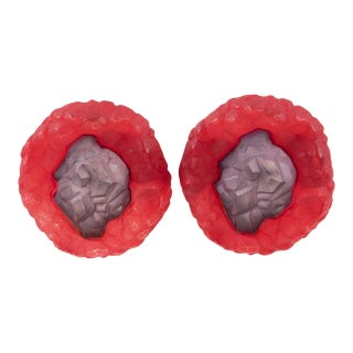 Oversized Purple and Red Rock Lucite Clip on Earrings For Sale