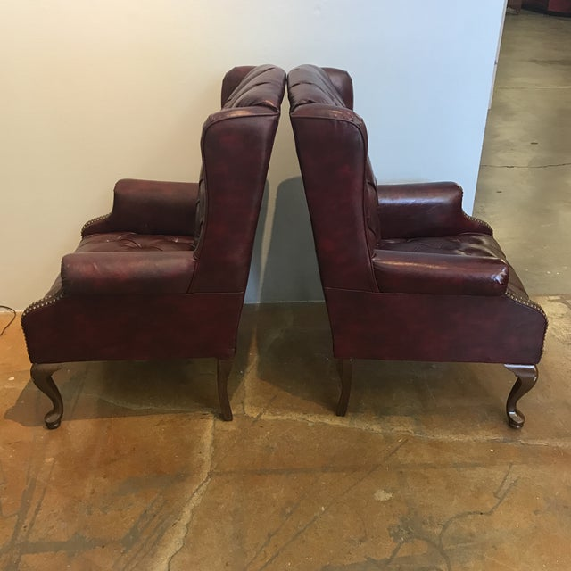 Chesterfield Oxblood Wingback Chairs - A Pair - Image 4 of 11