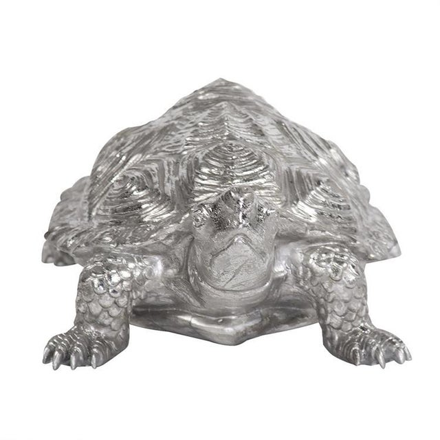 Contemporary Kenneth Ludwig Chicago Turtle Figurine Textured Pewter For Sale - Image 3 of 5