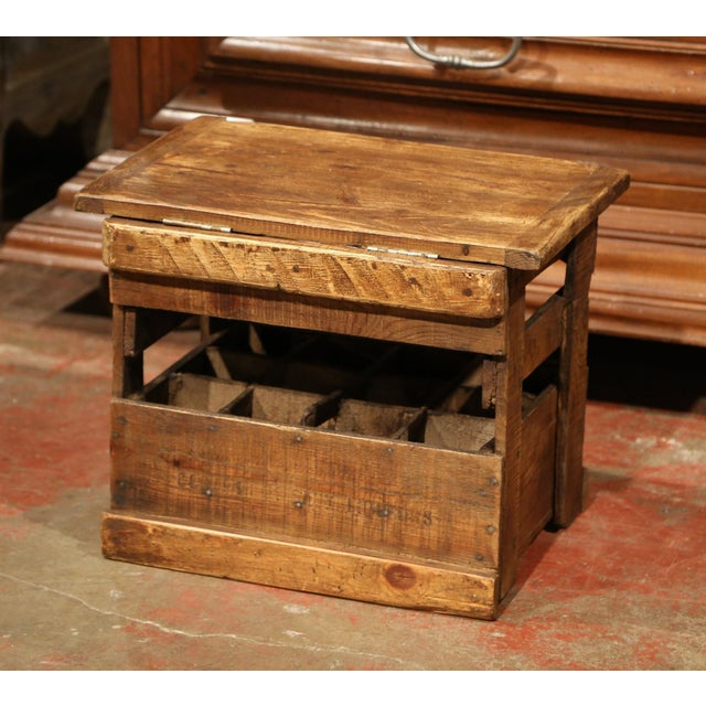 Pine Old French Pine 12 Wine Bottle Storage Cabinet with Bordeaux Inscription For Sale - Image 7 of 8