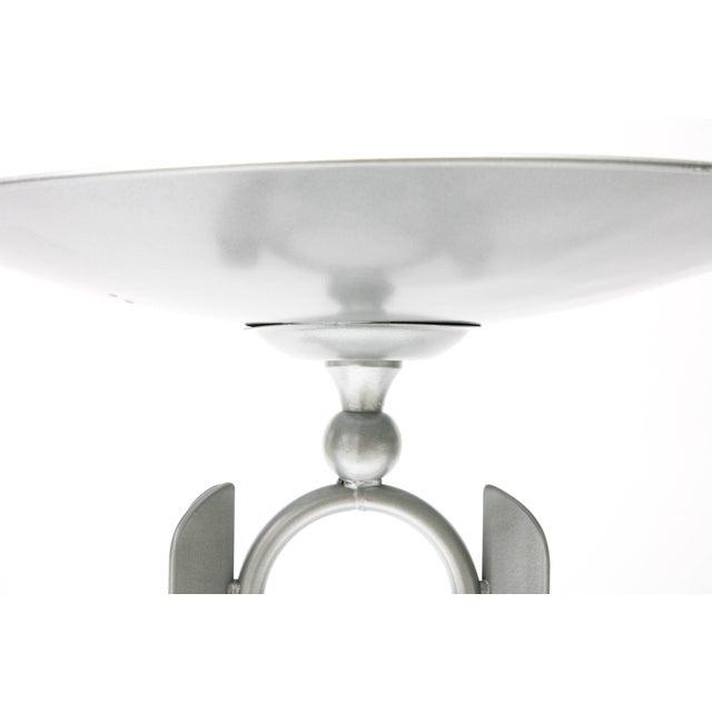 Modern, Artisan Bird Bath in Powder-Coated Silver Metallic Paint For Sale - Image 4 of 11