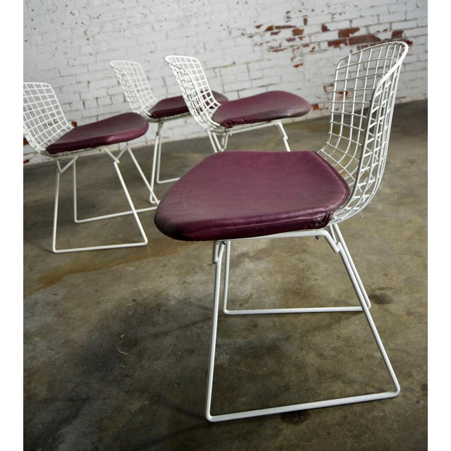Mid 20th Century Vintage Mid-Century Modern Bertoia White Wire Side Chairs For Sale - Image 5 of 11