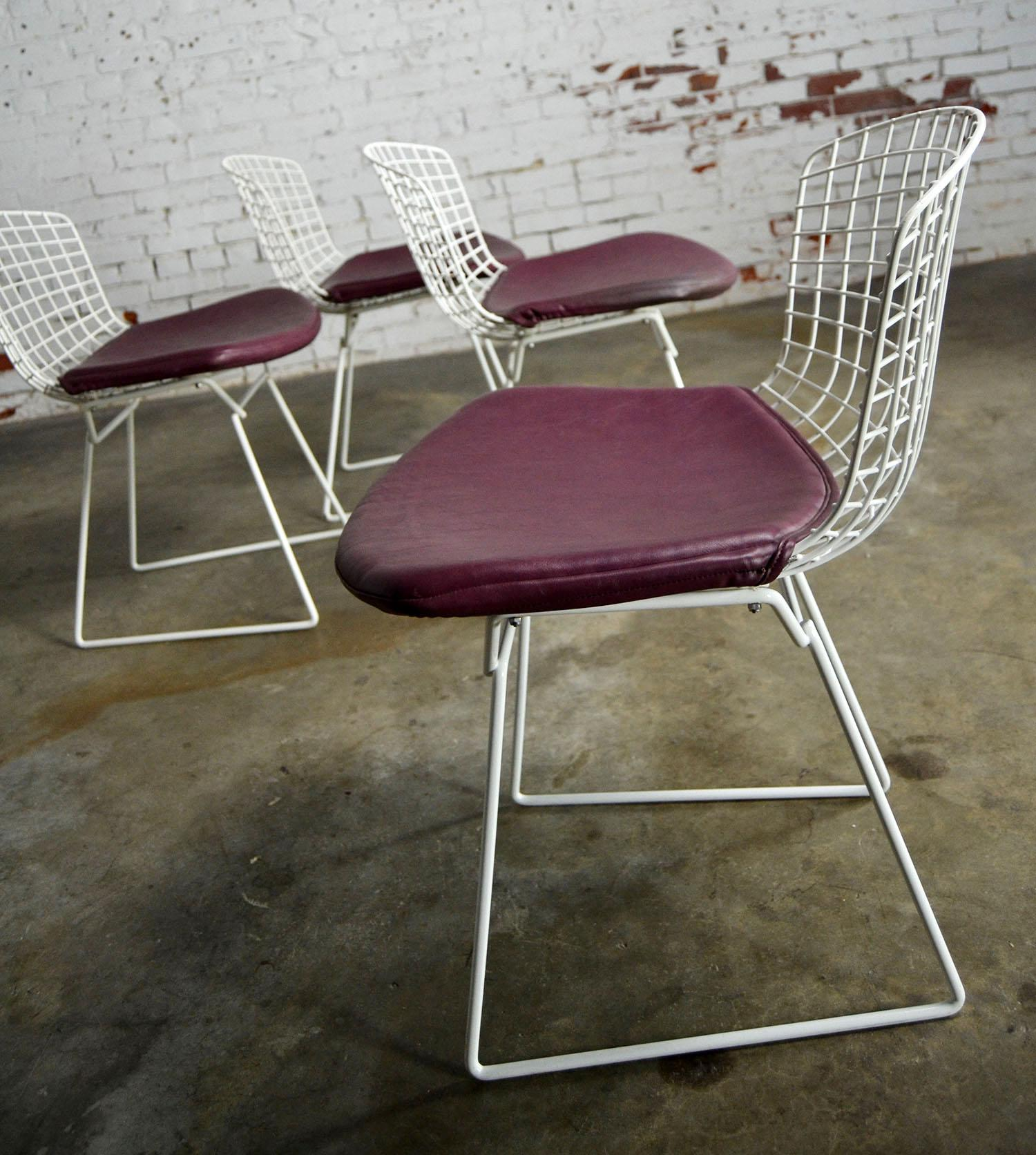 Vintage Mid Century Modern Bertoia White Wire Side Chairs   Image 5 Of 11