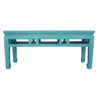 Solid Elm Turqoise/Blue Asian Bench