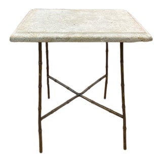 Mid Century Brass and Marble Faux Bamboo Base Side Table For Sale