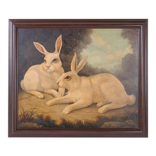 William Skilling Oil Painting on Canvas of Two Rabbits For Sale