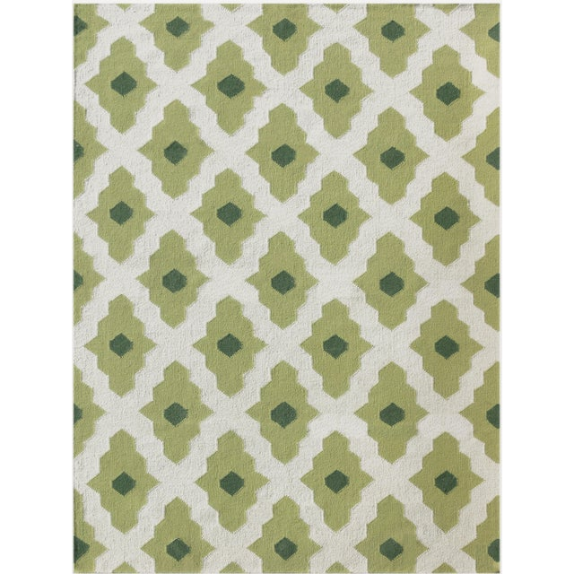 Zara Trellis Green Flat-Weave Rug 5'x8' For Sale - Image 4 of 4