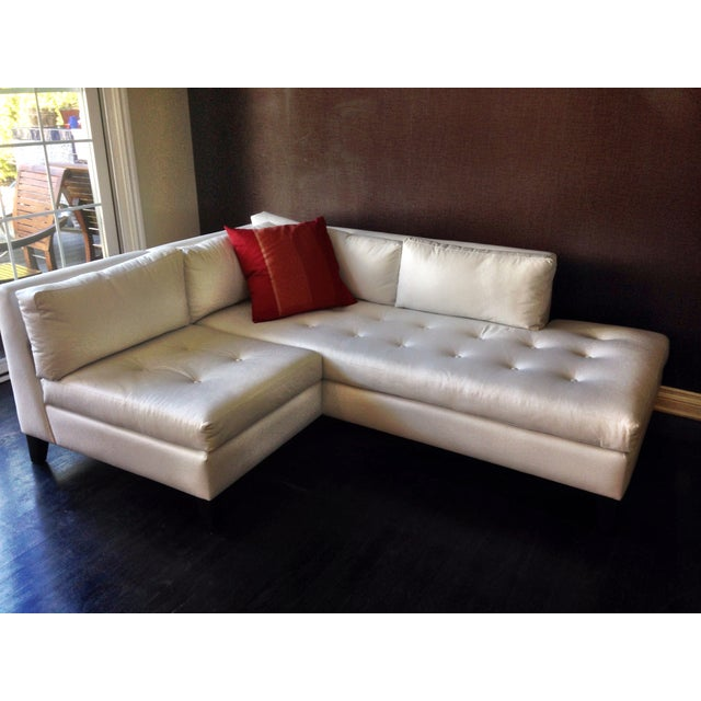 Modern White Faux Leather L-Shaped Sofa - Image 4 of 6