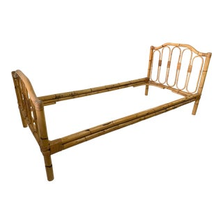 French Campaign Bamboo Twin Bedframe For Sale