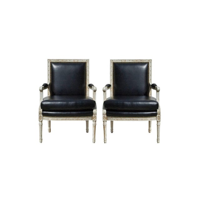 Vintage Black & White Louis XVI Bergere Chairs - A Pair - Image 2 of 9