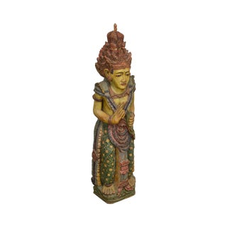 Asian Indian Hand Carved Painted Wood Hindu Woman Statue For Sale