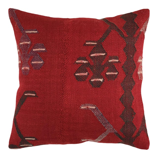 """Rich Red Kilim Pillow   16"""" For Sale"""