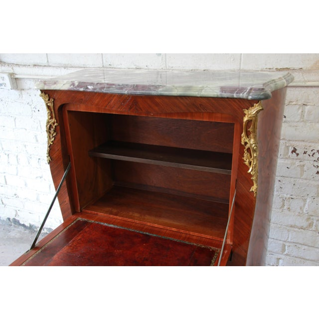 Animal Skin 19th Century French Inlaid Marquetry Marble Top Abattant Secretaire For Sale - Image 7 of 13