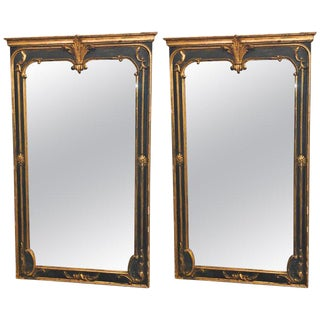 Pair of Neoclassical Ebony and Gilt Decorated / Wall / Pier or Console Mirrors For Sale