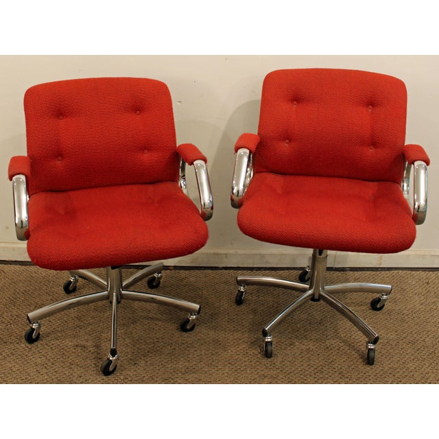 mid century danish modern red chrome steelcase office chairs on