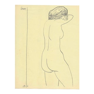 1961 Anguished Nude Female Drawing by James Bone For Sale