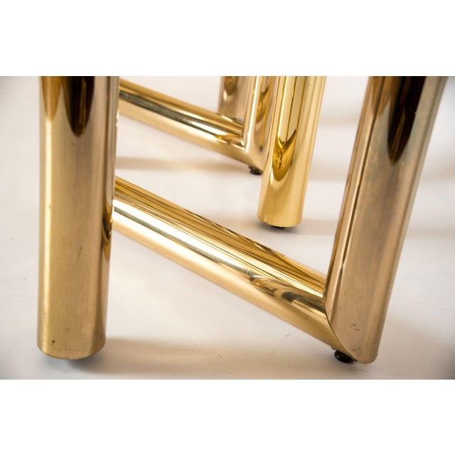 """Brass """"Z"""" Shaped End Tables - A Pair - Image 5 of 7"""