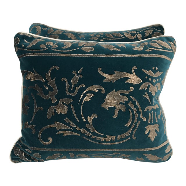 Gold Stenciled Velvet Pillows - A Pair - Image 1 of 7