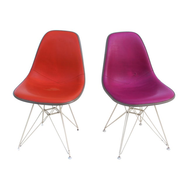 Pink & Orange Eames Chairs on Eiffel Bases - Pair For Sale - Image 5 of 10