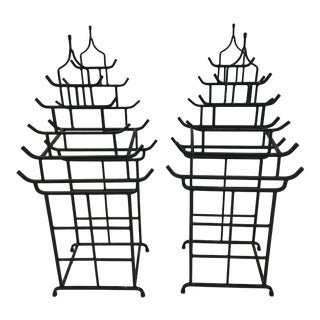 Vintage Pagoda Chinoiserie Wine Holders - a Pair