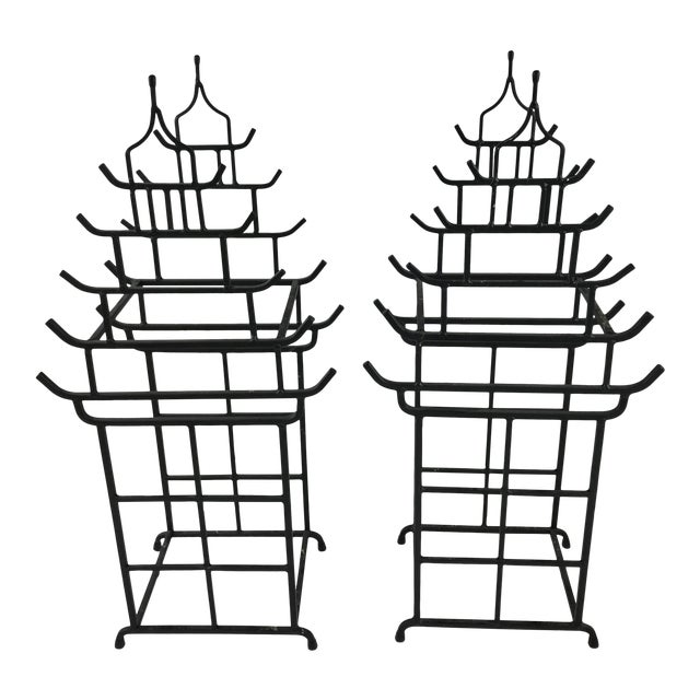 Vintage Pagoda Chinoiserie Wine Holders - a Pair For Sale