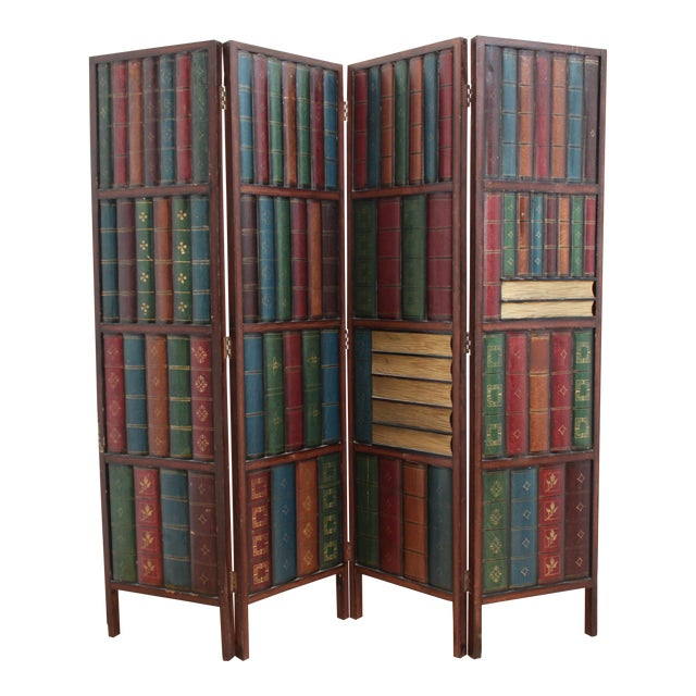 Vintage Trompe l'Oeil Folding Screen- Library Bas Relief Room Divider For Sale