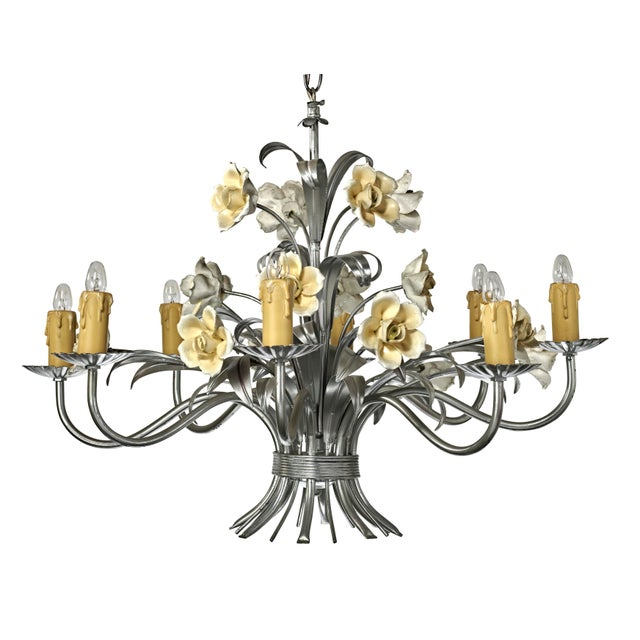 Mid Century Modern Italian Tole Floral Eight Light Chandelier For Sale - Image 13 of 13