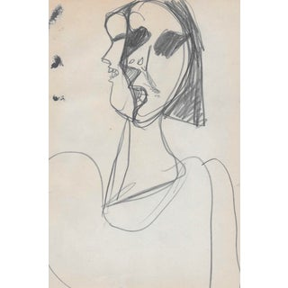 1960s Modern Portrait of a Lady Drawing For Sale