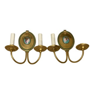 Caldwell Gilt Bronze Medallion Sconces - a Pair For Sale