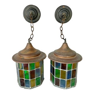 Pair of Arts and Crafts Style Stained Glass Lantern Light Fixtures For Sale