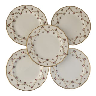 Antique English Crescent for Marshall Field Chicago Pink and Gold Rosebud Plates- Set of 5 For Sale