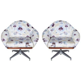 Pair of Floral Upholstered Swivel Base Chairs For Sale