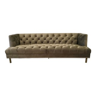 Regina Andrew Modern Tufted Olive Velvet Stella Sofa For Sale