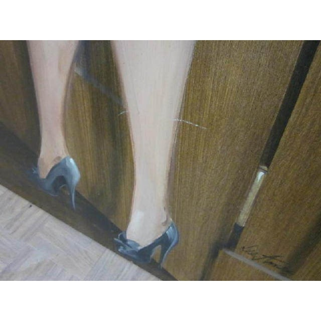 Late 20th Century Large Painting of a Woman by Lee Ames For Sale - Image 5 of 9