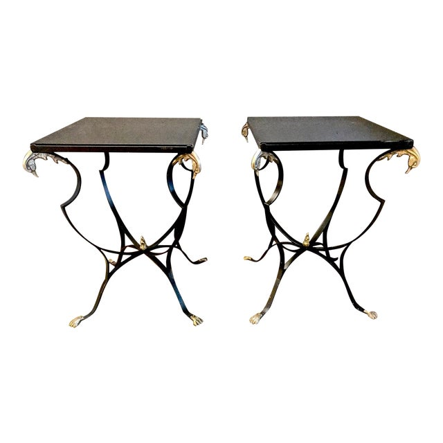 Pair Art Deco Forged Iron and Brass Side Tables For Sale
