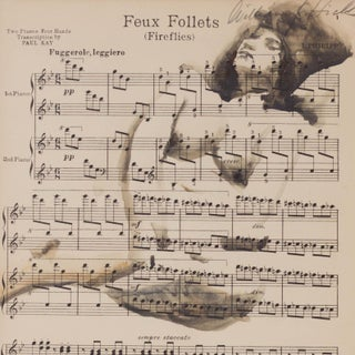 "Vintage ""Feux Follets"", Fireflies Music Sheet Nude Painting For Sale"