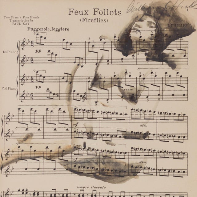 """Vintage """"Feux Follets"""", Fireflies Music Sheet Nude Painting For Sale"""